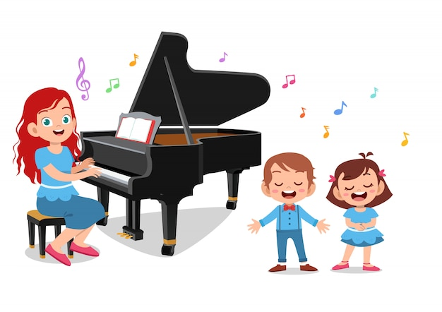 Teacher play pianos