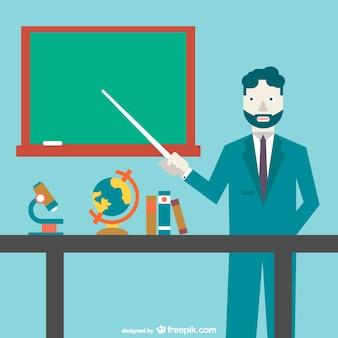 Teacher pointing to the blackboard