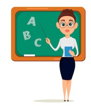 Teacher pointing on the blackboard