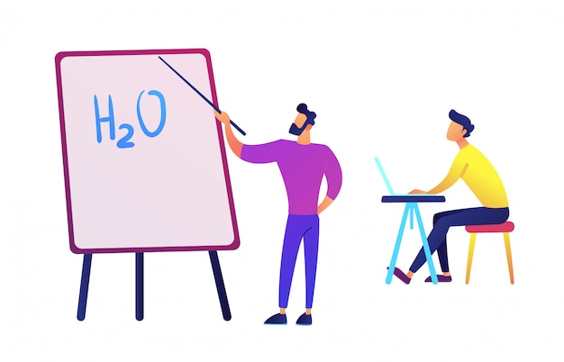 Teacher pointing to board with water formula and student with laptop vector illustration.
