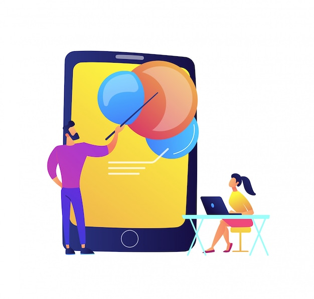 Teacher pointing at tablet and student vector illustration.