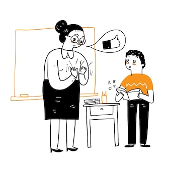 Teacher praise for student with applause for doing good, vector illustration cartoon doodles style