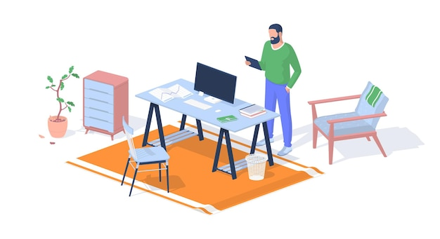 Teacher prepares for lecture in office. man stands with tablet looks through information. computer monitor with books drawings on table. armchair with bedside table. vector realistic isometry.