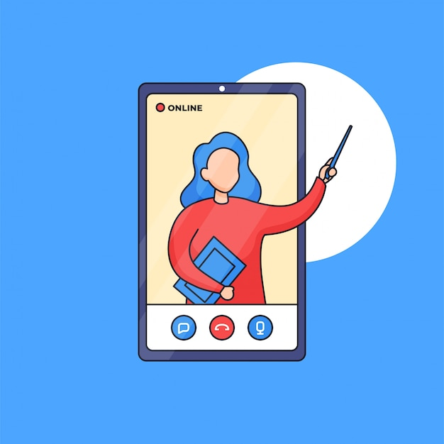 온라인 수업 디지털 교육을 위해 스마트 폰 화면에서 온라인으로 발표하는 교사