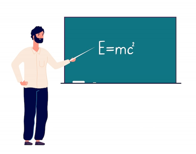 黒板の教師教授。男は教室の大学で物理学を教えています。オンライン教育と学校のコンセプトに戻る