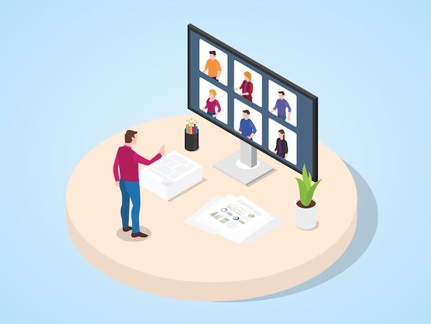 Учитель обеспечивает обучение студентов через видеоконференции в плоском мультяшном стиле