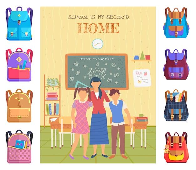 Teacher and pupils in classroom, school vector
