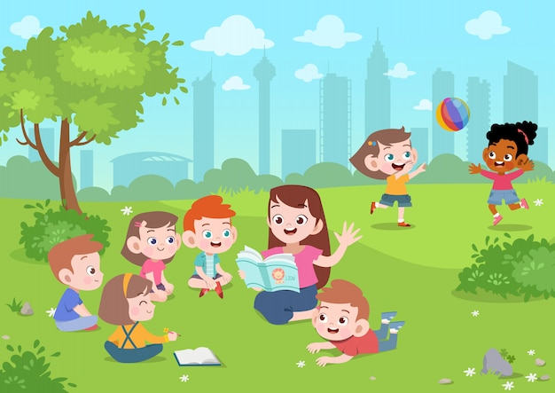 Teacher read story to student vector illustration