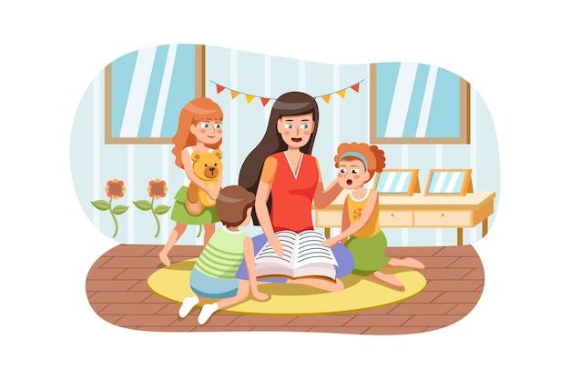 小学校の幼稚園の教室で子供たちの子供たちの生徒に本を読んでいる先生