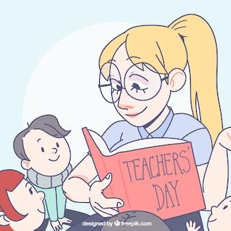 教師は彼女の生徒に読書する