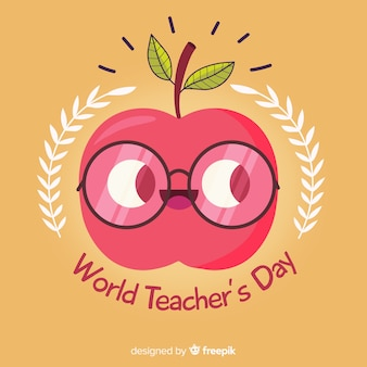 Teacher's day apple background in flat design