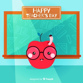 Teacher's day background with apple and blackboard in flat design