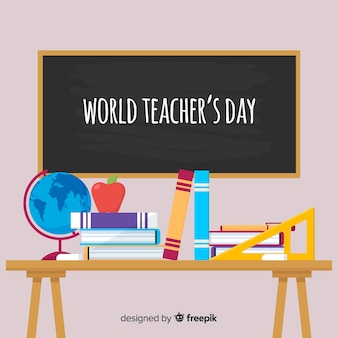 Teacher's day background with blackboard and desk in flat design
