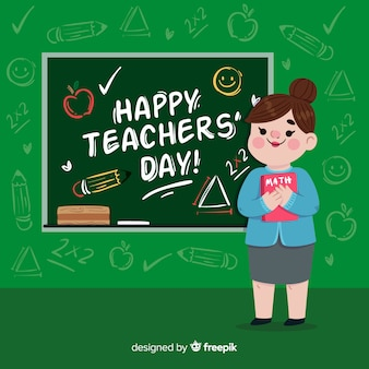 Teacher's day background with female teacher and blackboard in flat design