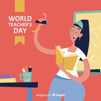 Teacher's day background with female teacher in flat design