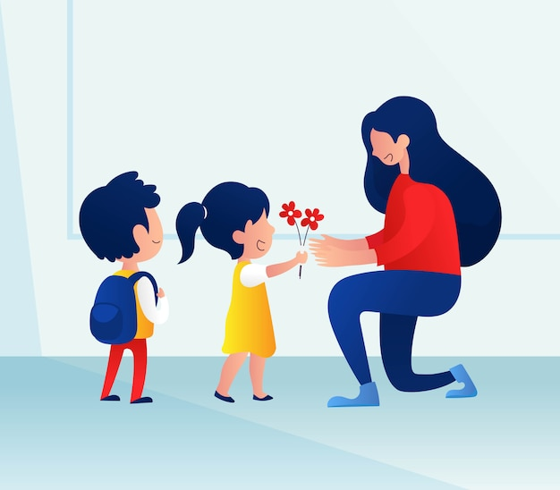 Teacher's day background with kids giving flower to her teacher
