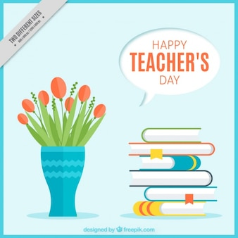 Teacher's day background with vase and books