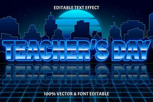 День учителя редактируемый текстовый эффект в стиле ретро