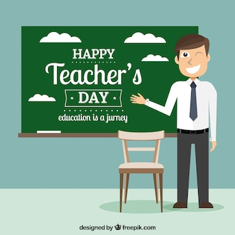Teacher's day, professor with a blackboard