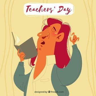 教師の日、長い髪の教授