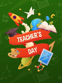 Teacher's day vector. cartoon school elements on backboard: book, cap, planets, stars, paint, rocket, tablet, molecule.