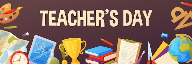 Teacher's day with elements: map, paper, pencil, ruler, paint, tablet, cup.