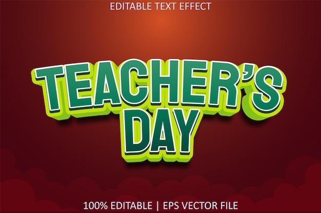 День учителя с редактируемым текстовым эффектом в современном стиле
