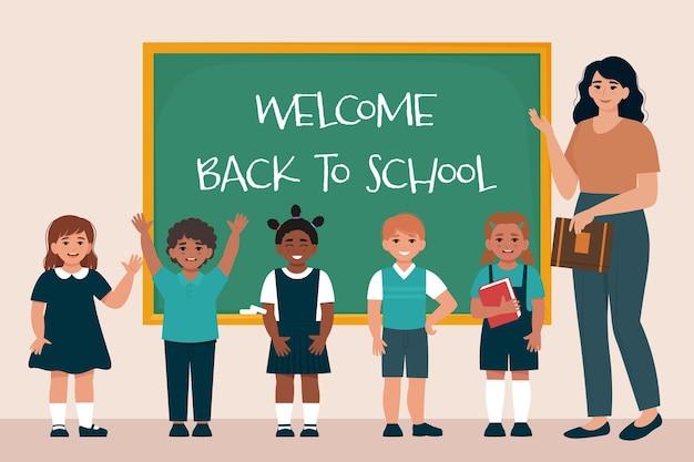 Teacher and schoolchildren in uniform at the blackboard back to school flatvector illustration
