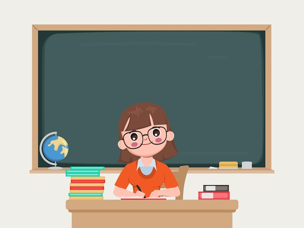 黒板を持って教室に座っている先生