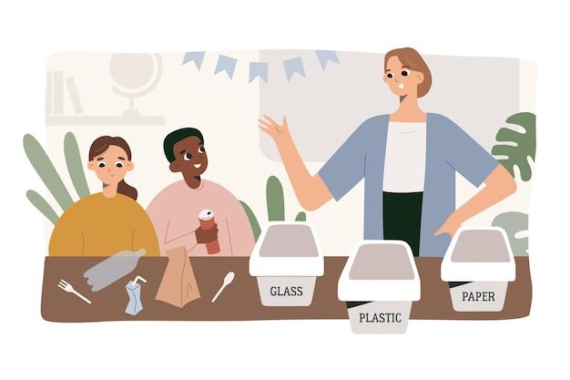 학교에서 아이들과 함께 쓰레기와 플라스틱 쓰레기를 분류하는 교사