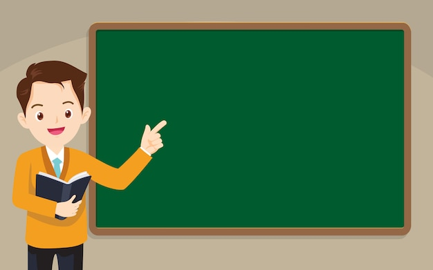 Teacher standing in front of chalkboard