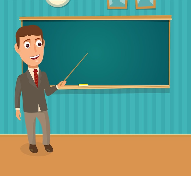 앞에 서서 포인터를 들고 있는 교사. 교실 벽에 빈 칠판. 색 벡터 평면 그림입니다.