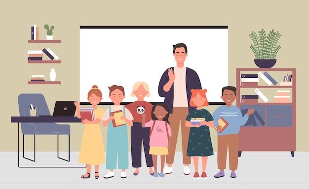 Teacher standing with kid school pupils