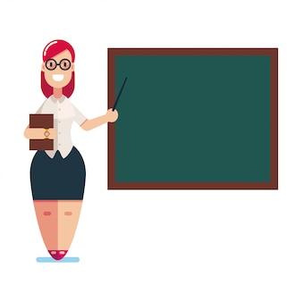 교사는 칠판 벡터 여자 플랫 문자 흰색 배경에 고립 근처 의미합니다.