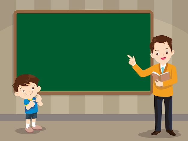 Teacher and studen boy standing in front of chalkboard