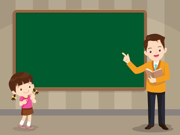 Teacher and studen girl standing in front of chalkboard