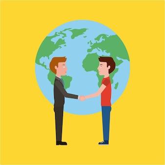 Teacher and student handshake world education