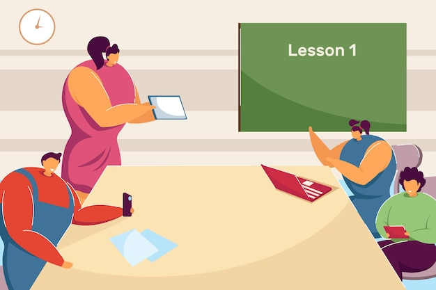 Teacher and students using gadgets on lesson. flat vector illustration. children sitting in classroom around table, looking at computer, smartphones. education, learning, school, technology concept