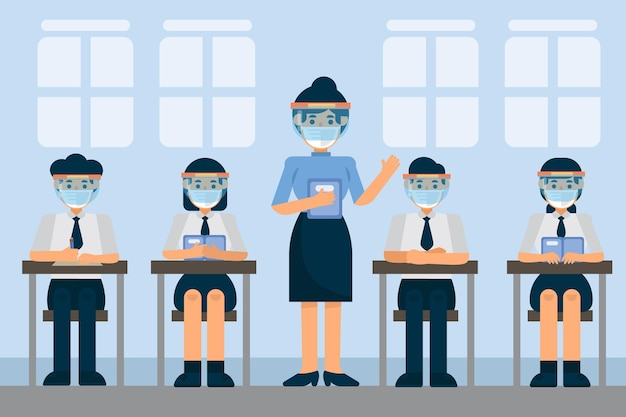 Teacher and students wearing face mask in class