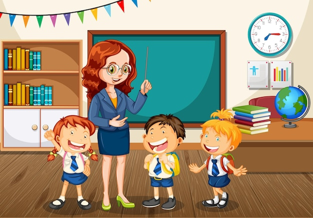 Teacher talking with students in the classroom scene
