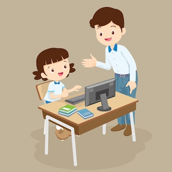 Teacher teaching computer to student girl