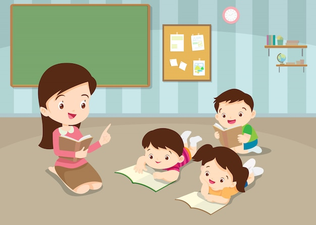 Teacher teaching cute childrens reading books