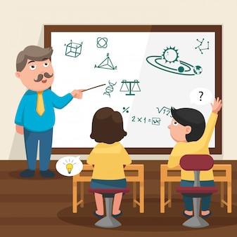 The teacher teaching his students in the classroom illustration
