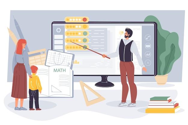 コンピューターの画面でクラスの学生率を示すオンライン数学を教える先生。