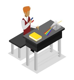 Teacher teaching physics isometric 3d