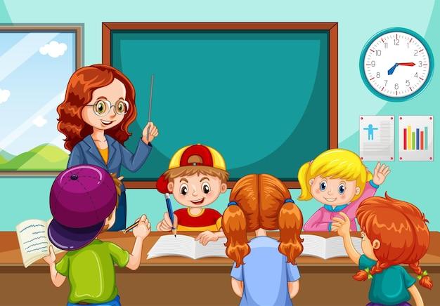 Учитель обучает студентов в классе