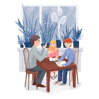 Teacher tutor explains the subject to children