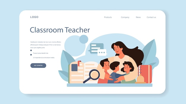 Teacher web banner or landing page. profesor standing in front of the blackboard. school or college workers with professional discipline tools. flat vector illustration