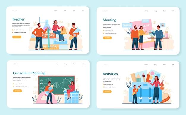 Teacher web banner or landing page set. profesor planning curriculum, meeting parents.