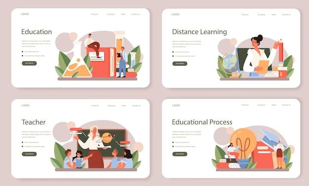 Набор веб-баннера учителя или целевой страницы